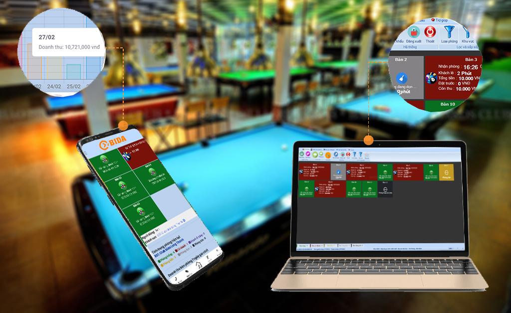 Báo cáo doanh thu trên phần mềm quản lý tính tiền bida nhằm tránh nhầm lẫn và thất thoát